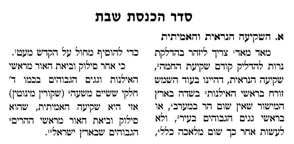 Seder Hachnasas Shabbos -Shkiah Amitis